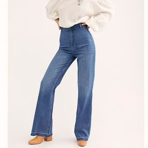 We The Free super high rise flare raw hem jeans